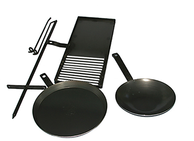 Cookstand KIT4 with 700mm BBQ, 410mm Frypan, Wok by Hillbilly