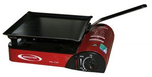 This little folding handle hotplate is designed to fit all portable butane stove tops and has locating points underneath to prevent movement on the stove top. With the handle folded the plate packs down flat to aproximately 15 mm thick which enables it to be packed in most stove carry cases along with the stove.